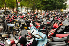 Mopeds parked outside in Shanghai's Baoshan District Royalty Free Stock Images