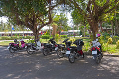 Mopeds on  parking Royalty Free Stock Photography