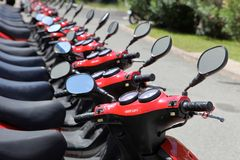 Mopeds in a Row For Vacation Rental Royalty Free Stock Photos