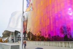 Mopop -现代流行音乐博物馆在西雅图-博物馆流行文化-西雅图/华盛顿- 2017年4月11日 免版税库存图片