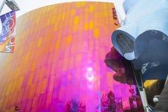 Mopop -现代流行音乐博物馆在西雅图-博物馆流行文化-西雅图/华盛顿- 2017年4月11日 库存照片