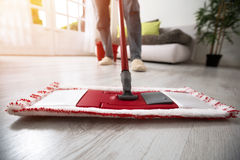Mopping and cleaning room Royalty Free Stock Photography