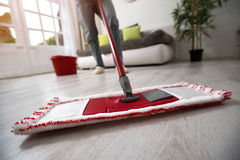 Mopping and cleaning room. Close up Stock Images