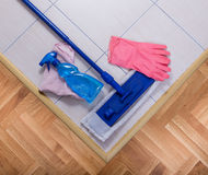 Mopping equipment on the floor Royalty Free Stock Photo