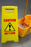 Mopping floor warning sign Royalty Free Stock Photography