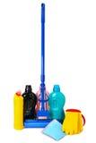 Mops, Flaschen reinigend und Gummihandschuhe lizenzfreies stockbild