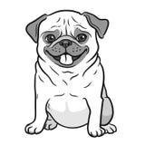 Mops kreskówki psia czarny i biały ręka rysujący portret Śmieszny szczęśliwy royalty ilustracja