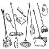 mops Reeks van het schoonmaken van hulpmiddelen Royalty-vrije Stock Foto
