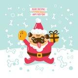Mops Santa Claus Card Royaltyfri Illustrationer