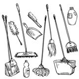 Mops. Set of cleaning tools. Royalty Free Stock Photo