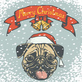 Mops Snow 02. Christmas pug dog vector illustration. Pug dog head with Santa hat. Inscription Merry Christmas and snow royalty free illustration