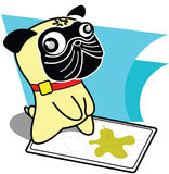 Mops som peeing stock illustrationer