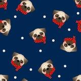 Mopshund med den röda halsduken på marinblå bakgrund också vektor för coreldrawillustration royaltyfri illustrationer