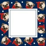 Mopshund med den röda halsduken på marinblått banerkort också vektor för coreldrawillustration vektor illustrationer