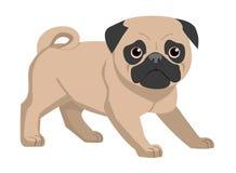 Mopshund som isoleras på vit bakgrund också vektor för coreldrawillustration stock illustrationer