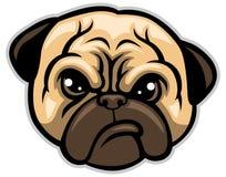 Mopshundhuvud royaltyfri illustrationer