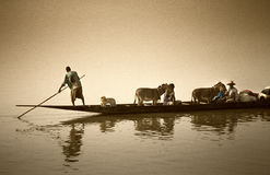 Mopti, Mali, Africa - the port of the city where it joins the Ba Stock Photography