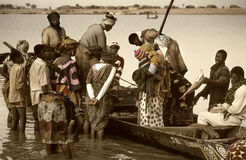 Mopti, Mali, Africa - the port of the city where it joins the Ba Stock Photo
