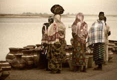 Mopti, Mali, Africa - the port of the city where it joins the Ba Royalty Free Stock Image