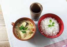 Moqueca av fisken och spanska peppar, matbrasilian som tjänas som med vita ris, på en trätabell arkivbild
