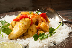 Moqueca, Brazilian Fish Stew. Home made Brazilian fish stew known as moqueca and originating from the Bahia region in northern Brazil Royalty Free Stock Photos