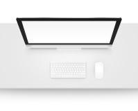 Moquerie d'affichage d'ordinateur avec le clavier et la souris de au-dessus de l'isolant Images libres de droits