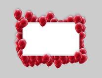 Moquerie d'affiche de cadre de paysage avec les ballons rouges sur un fond clair Conception colorée de fête photos stock