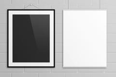 Moquerie d'illustration des affiches 3D de lettre des USA sur le mur de briques Image stock