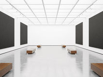 Moquerie d'intérieur avec la toile noire 3d rendent Photos libres de droits