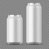 Moquerie de canette de bière de blanc  Petit et grand aluminium illustration de vecteur
