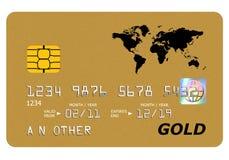 Moquerie de carte d'or de côté vers le haut d'isolement sur le blanc. Images libres de droits