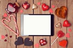 Moquerie de comprimé de Digital vers le haut de calibre pour des vacances de Saint-Valentin Photo stock