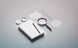 Moquerie de conception de présentation de livre vers le haut des éléments Photographie stock libre de droits
