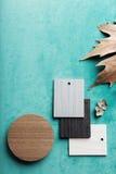 Moquerie de configuration d'appartement d'automne avec l'espace des textes photos stock