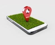 Moquerie de couleur rouge de goupille de navigateur de GPS avec l'herbe sur le fond gris illustration 3D Photos libres de droits