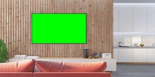 Moquerie du salon TV avec le sofa de lamelles, cuisine, console Image stock