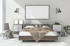 moquerie minimale de vintage du rendu 3d vers le haut de chambre à coucher dans le style scandinave Photographie stock