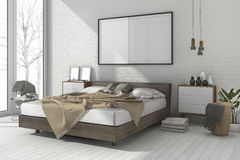 moquerie minimale de vintage du rendu 3d vers le haut de chambre à coucher dans le style scandinave Image libre de droits