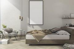 moquerie minimale de vintage du rendu 3d vers le haut de chambre à coucher dans le style scandinave Images libres de droits