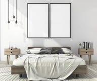 moquerie minimale de vintage du rendu 3d vers le haut de chambre à coucher dans le style scandinave illustration stock