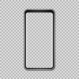 Moquerie noire de téléphone avec l'écran vide d'isolement sur le fond transparent Illustration de vecteur Photographie stock libre de droits