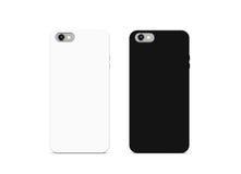 Moquerie noire et blanche vide de cas de téléphone, d'isolement Photo stock