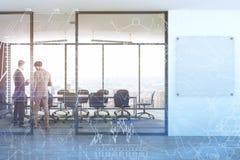 Moquerie panoramique de lobby de lieu de réunion, hommes d'affaires Photographie stock