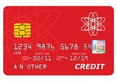 Moquerie par la carte de crédit de côté vers le haut d'isolement sur le blanc. Image libre de droits