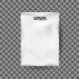 Moquerie réaliste, sachet en plastique blanc, empaquetant pour la nourriture, marchandises illustration stock