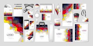 Moquerie réglée de maquette d'identité d'entreprise de collection de kit de vecteur vers le haut de conception multicolore multic Photo libre de droits