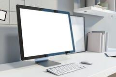 Moquerie vers le haut d'écran d'ordinateur dans le bureau blanc illustration libre de droits