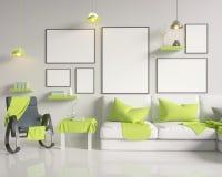 Moquerie vers le haut d'affiche avec le fond intérieur de grenier de minimalisme de hippie de vintage, 3D rendu, illustration 3D Image stock