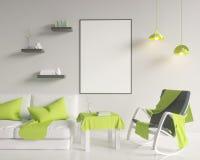 Moquerie vers le haut d'affiche avec le fond intérieur de grenier de minimalisme de hippie de vintage, 3D rendu, illustration 3D Photo libre de droits