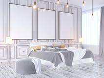 Moquerie vers le haut d'affiche avec le fond intérieur de hippie de vintage de grenier en pastel de minimalisme, 3D rendu, illust Illustration Libre de Droits